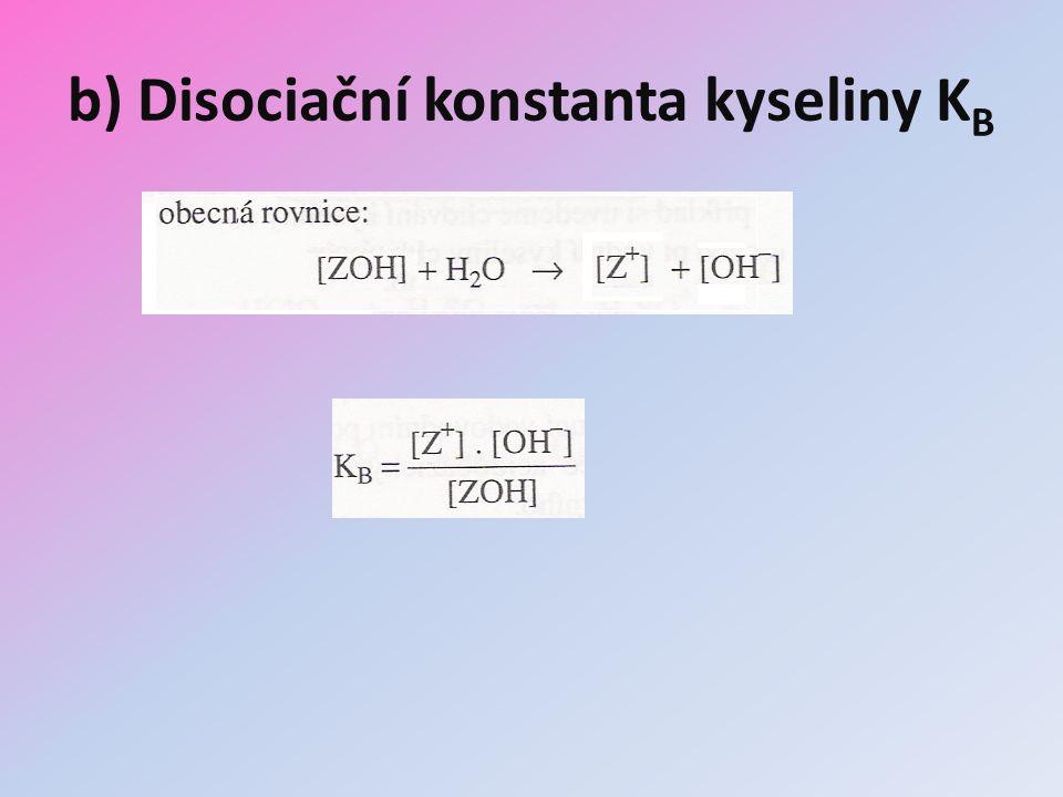b) Disociační konstanta kyseliny K B