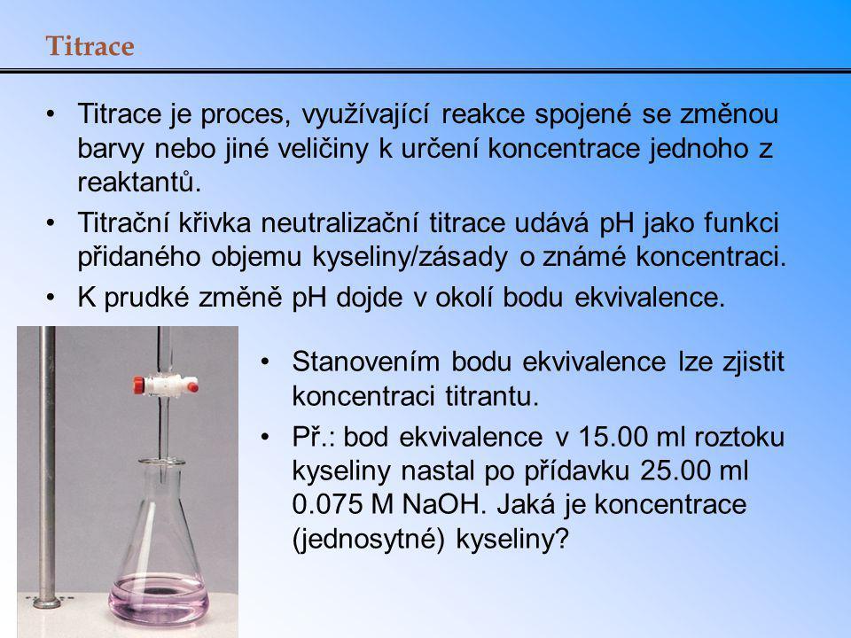 Titrace Titrace je proces, využívající reakce spojené se změnou barvy nebo jiné veličiny k určení koncentrace jednoho z reaktantů. Titrační křivka neu