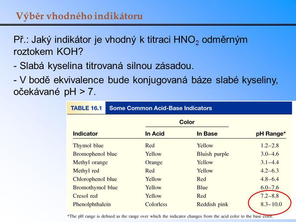 Výběr vhodného indikátoru Př.: Jaký indikátor je vhodný k titraci HNO 2 odměrným roztokem KOH? - Slabá kyselina titrovaná silnou zásadou. - V bodě ekv