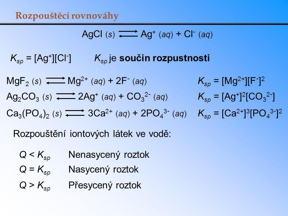 Rozpouštěcí rovnováhy AgCl (s) Ag + (aq) + Cl - (aq) K sp = [Ag + ][Cl - ]K sp je součin rozpustnosti MgF 2 (s) Mg 2+ (aq) + 2F - (aq) K sp = [Mg 2+ ][F - ] 2 Ag 2 CO 3 (s) 2Ag + (aq) + CO 3 2 - (aq) K sp = [Ag + ] 2 [CO 3 2 - ] Ca 3 (PO 4 ) 2 (s) 3Ca 2+ (aq) + 2PO 4 3 - (aq) K sp = [Ca 2+ ] 3 [PO 4 3 - ] 2 Rozpouštění iontových látek ve vodě: Q = K sp Nasycený roztok Q < K sp Nenasycený roztok Q > K sp Přesycený roztok