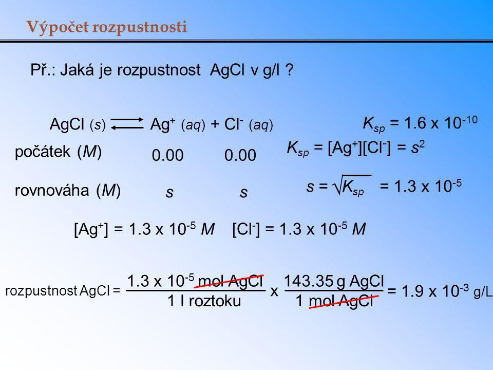 Výpočet rozpustnosti Př.: Jaká je rozpustnost AgCl v g/l ? AgCl (s) Ag + (aq) + Cl - (aq) K sp = [Ag + ][Cl - ] = s 2 počátek (M) rovnováha (M) 0.00 s