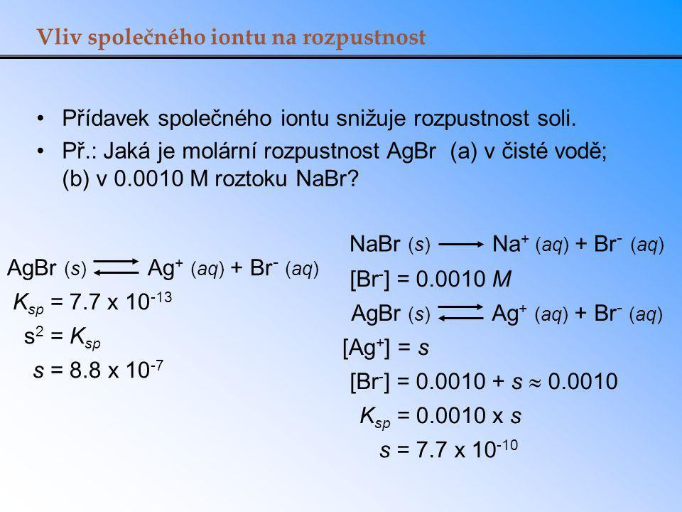 Vliv společného iontu na rozpustnost AgBr (s) Ag + (aq) + Br - (aq) K sp = 7.7 x 10 -13 s 2 = K sp s = 8.8 x 10 -7 NaBr (s) Na + (aq) + Br - (aq) [Br