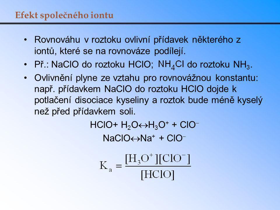 Efekt společného iontu Rovnováhu v roztoku ovlivní přídavek některého z iontů, které se na rovnováze podílejí. Př.: NaClO do roztoku HClO; do roztoku