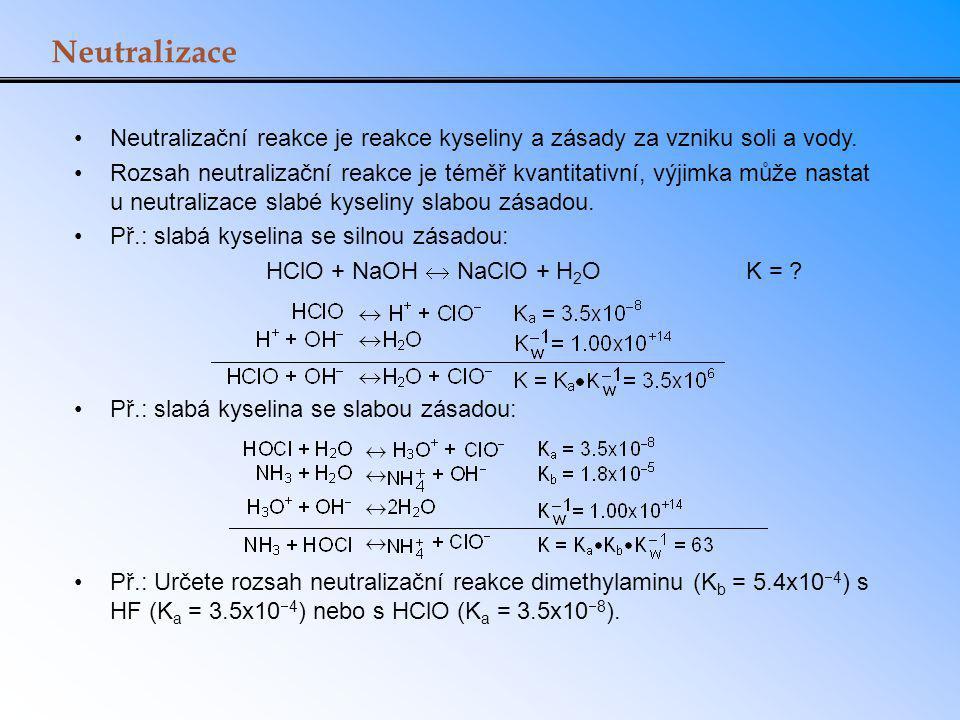 Vliv společného iontu na rozpustnost AgBr (s) Ag + (aq) + Br - (aq) K sp = 7.7 x 10 -13 s 2 = K sp s = 8.8 x 10 -7 NaBr (s) Na + (aq) + Br - (aq) [Br - ] = 0.0010 M AgBr (s) Ag + (aq) + Br - (aq) [Ag + ] = s [Br - ] = 0.0010 + s  0.0010 K sp = 0.0010 x s s = 7.7 x 10 -10 Přídavek společného iontu snižuje rozpustnost soli.
