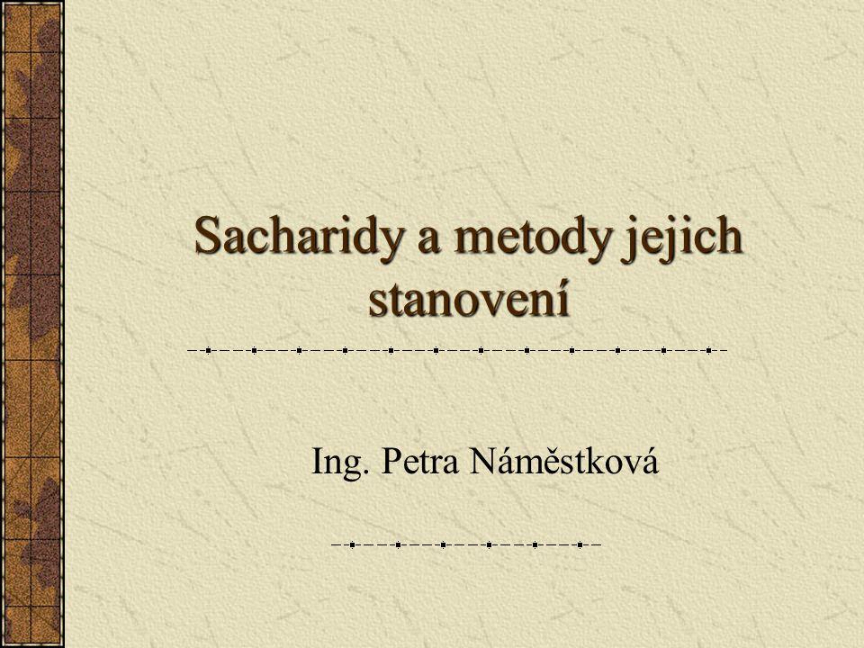 Sacharidy a metody jejich stanovení Ing. Petra Náměstková