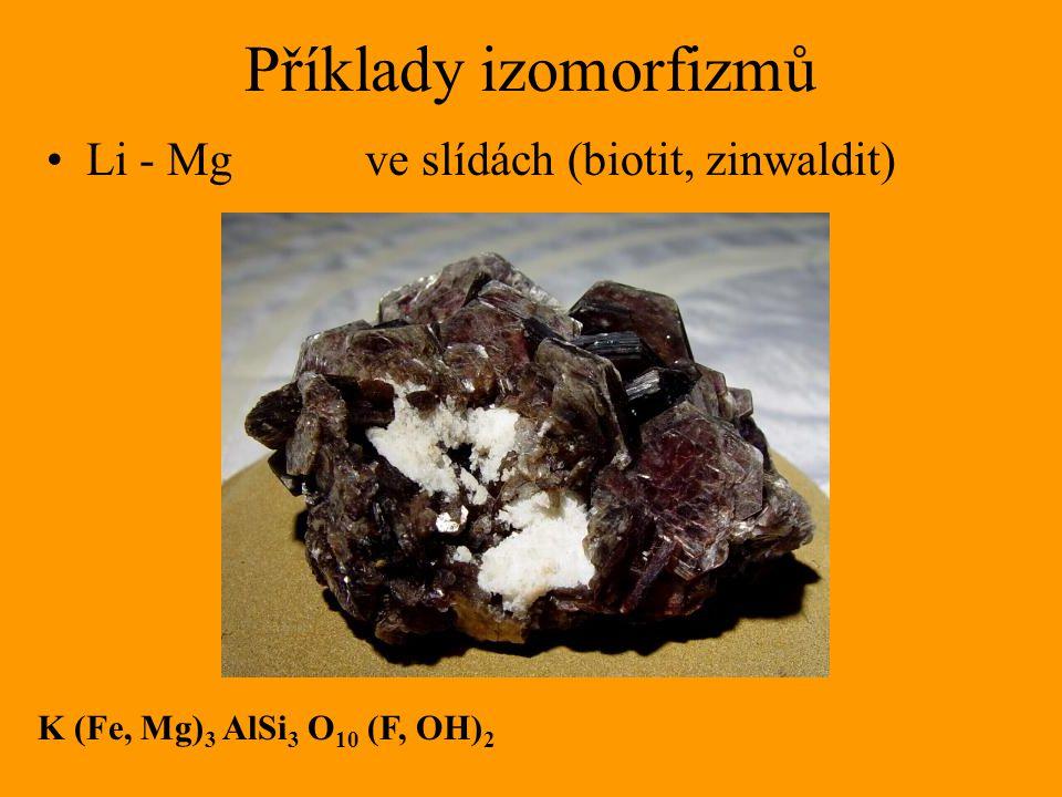 Příklady izomorfizmů Li - Mg ve slídách (biotit, zinwaldit) K (Fe, Mg) 3 AlSi 3 O 10 (F, OH) 2