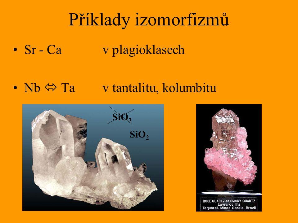 Příklady izomorfizmů Sr - Ca v plagioklasech Nb  Ta v tantalitu, kolumbitu SiO 3 SiO 2