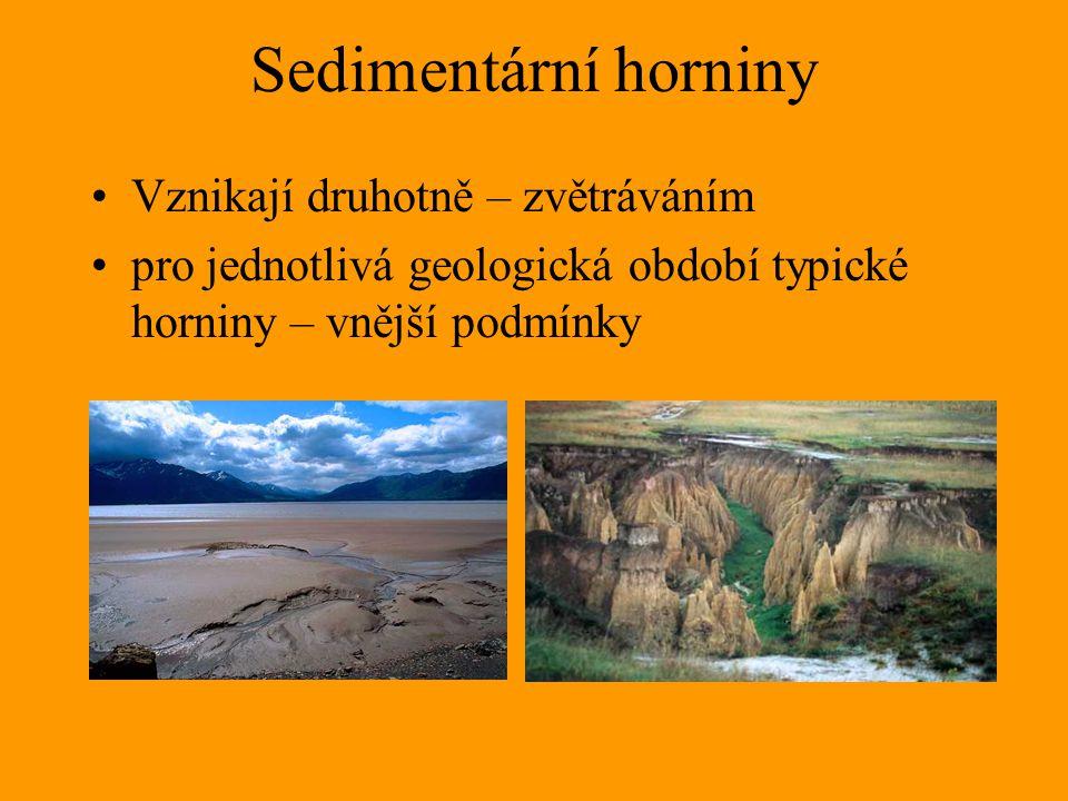 Sedimentární horniny Vznikají druhotně – zvětráváním pro jednotlivá geologická období typické horniny – vnější podmínky