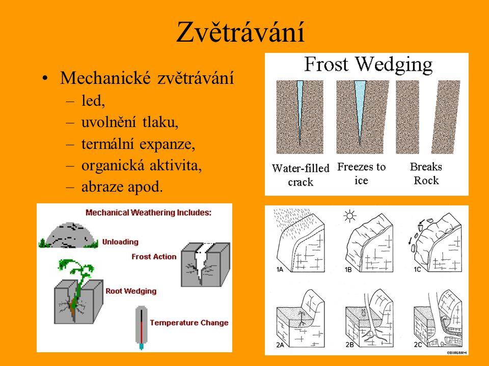 Zvětrávání Mechanické zvětrávání –led, –uvolnění tlaku, –termální expanze, –organická aktivita, –abraze apod.