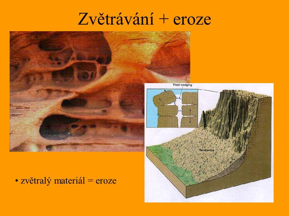 Zvětrávání + eroze zvětralý materiál = eroze