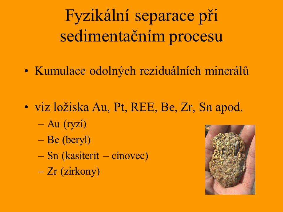 Fyzikální separace při sedimentačním procesu Kumulace odolných reziduálních minerálů viz ložiska Au, Pt, REE, Be, Zr, Sn apod. –Au (ryzí) –Be (beryl)
