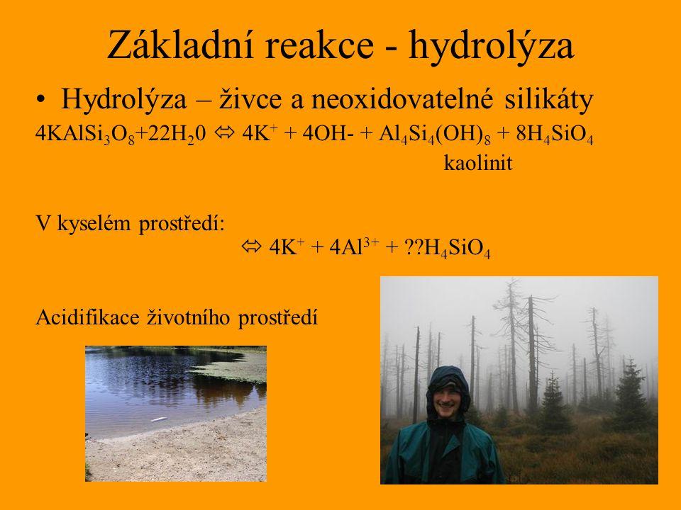 Základní reakce - hydrolýza Hydrolýza – živce a neoxidovatelné silikáty 4KAlSi 3 O 8 +22H 2 0  4K + + 4OH- + Al 4 Si 4 (OH) 8 + 8H 4 SiO 4 kaolinit V