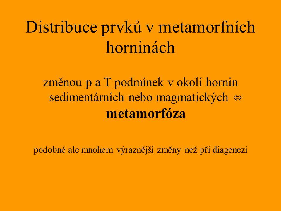Distribuce prvků v metamorfních horninách změnou p a T podmínek v okolí hornin sedimentárních nebo magmatických  metamorfóza podobné ale mnohem výraz