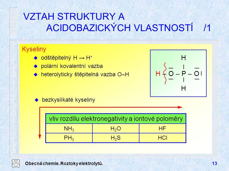 Obecná chemie. Roztoky elektrolytů.13 Kyseliny u odštěpitelný H → H + u polární kovalentní vazba u heterolyticky štěpitelná vazba O–H VZTAH STRUKTURY