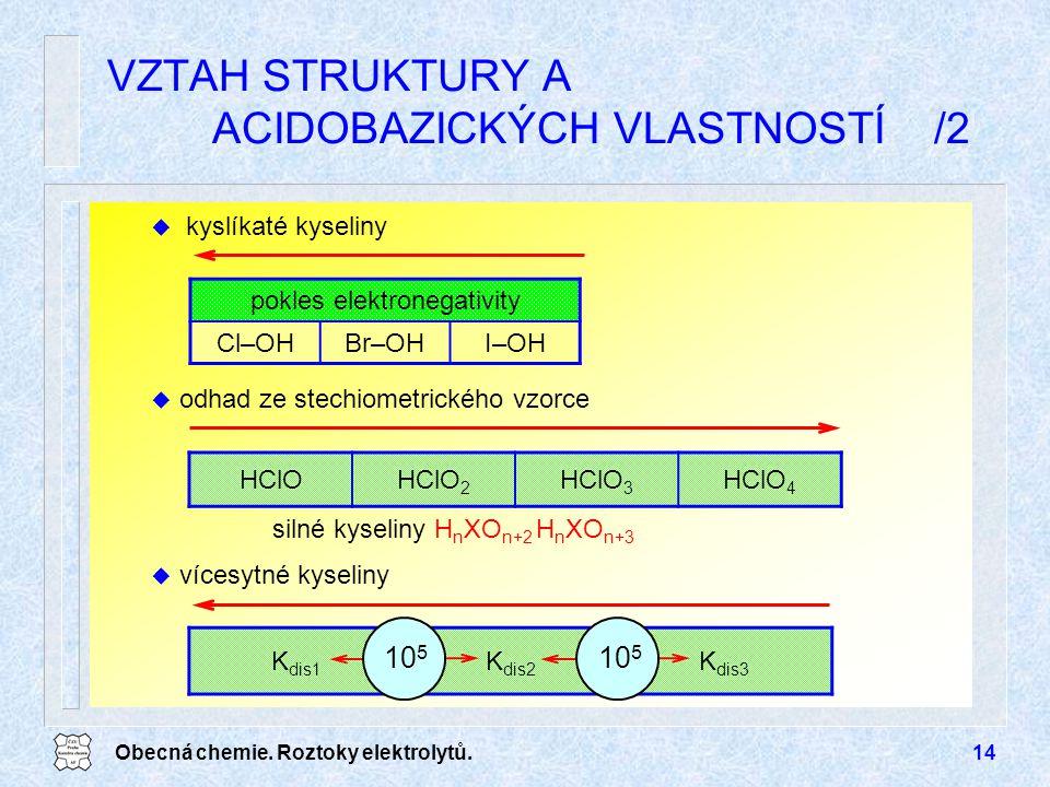 Obecná chemie. Roztoky elektrolytů.14 K dis1 K dis2 K dis3 VZTAH STRUKTURY A ACIDOBAZICKÝCH VLASTNOSTÍ /2 HClOHClO 2 HClO 3 HClO 4 silné kyseliny H n
