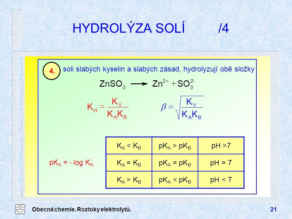 Obecná chemie. Roztoky elektrolytů.21 HYDROLÝZA SOLÍ/4 soli slabých kyselin a slabých zásad, hydrolyzují obě složky 4.4. pK A =  log K A -2 3 2 3 SOZ