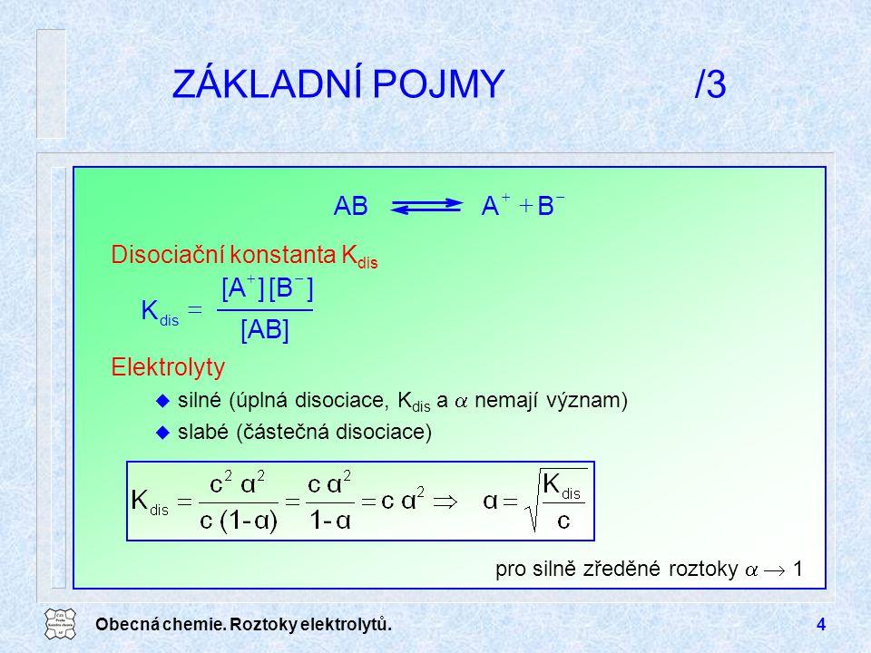 Obecná chemie. Roztoky elektrolytů.4 ZÁKLADNÍ POJMY/3 pro silně zředěné roztoky   1 Disociační konstanta K dis Elektrolyty u silné (úplná disociace,