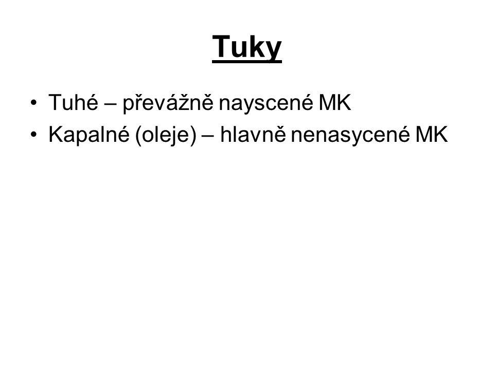 Tuky Tuhé – převážně nayscené MK Kapalné (oleje) – hlavně nenasycené MK