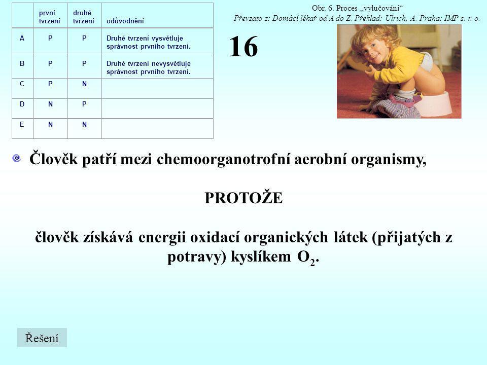 16 Člověk patří mezi chemoorganotrofní aerobní organismy, PROTOŽE člověk získává energii oxidací organických látek (přijatých z potravy) kyslíkem O 2.