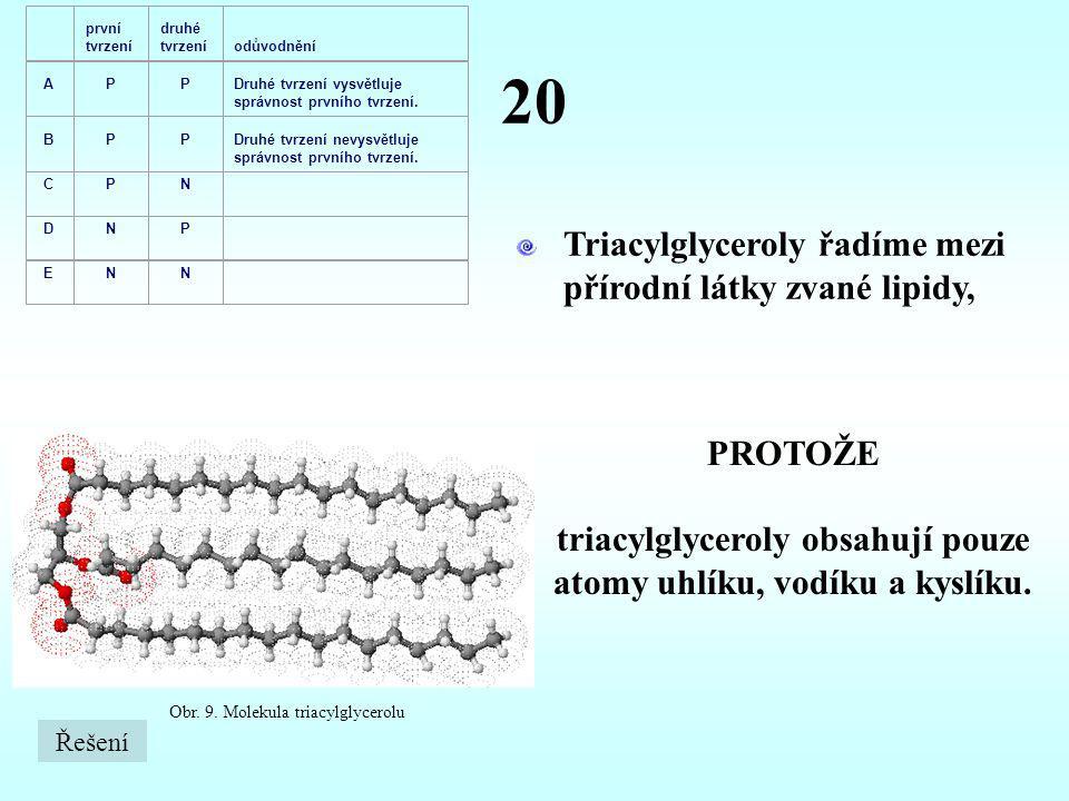20 Triacylglyceroly řadíme mezi přírodní látky zvané lipidy, PROTOŽE triacylglyceroly obsahují pouze atomy uhlíku, vodíku a kyslíku. Obr. 9. Molekula