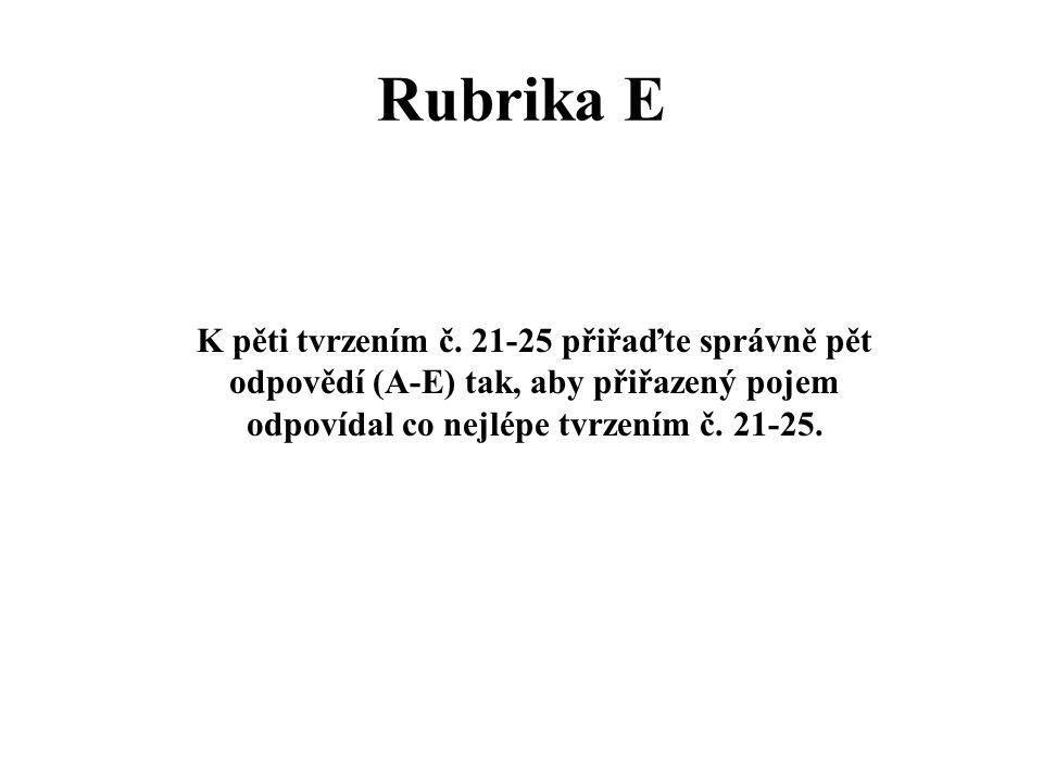 Rubrika E K pěti tvrzením č. 21-25 přiřaďte správně pět odpovědí (A-E) tak, aby přiřazený pojem odpovídal co nejlépe tvrzením č. 21-25.