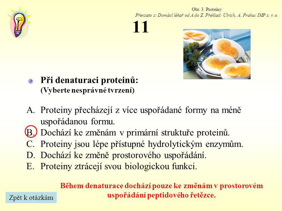 11 Obr. 3. Proteiny Převzato z: Domácí lékař od A do Z. Překlad: Ulrich, A. Praha: IMP s. r. o. Během denaturace dochází pouze ke změnám v prostorovém