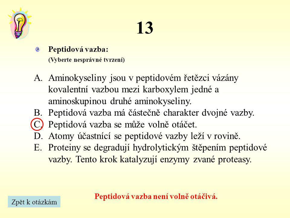 13 Peptidová vazba není volně otáčivá. Zpět k otázkám Peptidová vazba: (Vyberte nesprávné tvrzení) A.Aminokyseliny jsou v peptidovém řetězci vázány ko