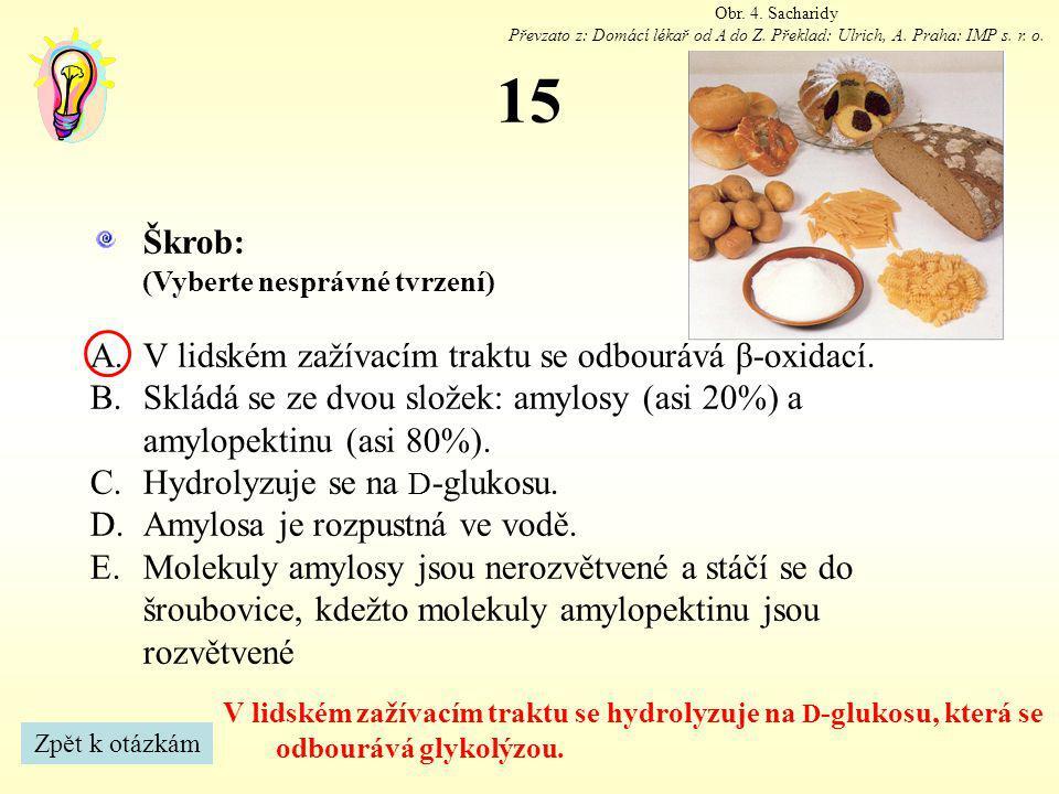 15 Obr.4. Sacharidy Převzato z: Domácí lékař od A do Z.