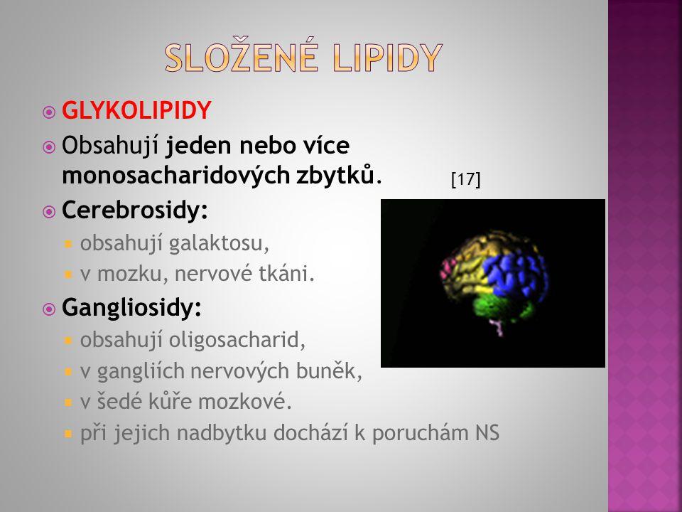  FOSFOLIPIDY − SFINGOMYELINY  Místo glycerolu obsahují sfingosin.