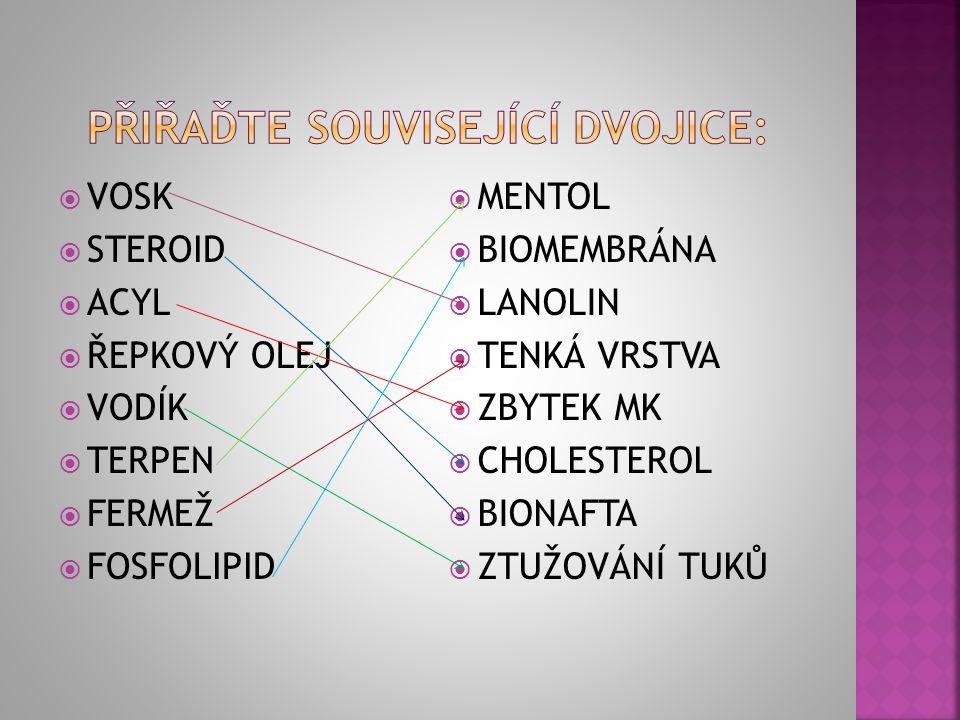  Triacylglyceroly jsou estery glycerolu a kyseliny máselné.