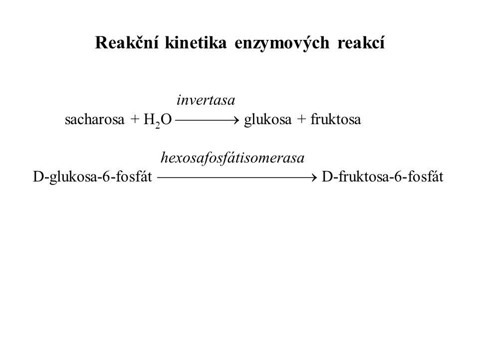 invertasa sacharosa + H 2 O  glukosa + fruktosa hexosafosfátisomerasa D-glukosa-6-fosfát  D-fruktosa-6-fosfát Reakční kinetika enzymových reakcí