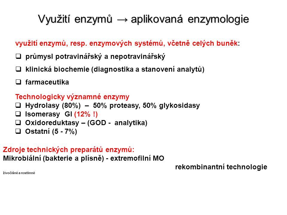 Využití enzymů → aplikovaná enzymologie využití enzymů, resp.