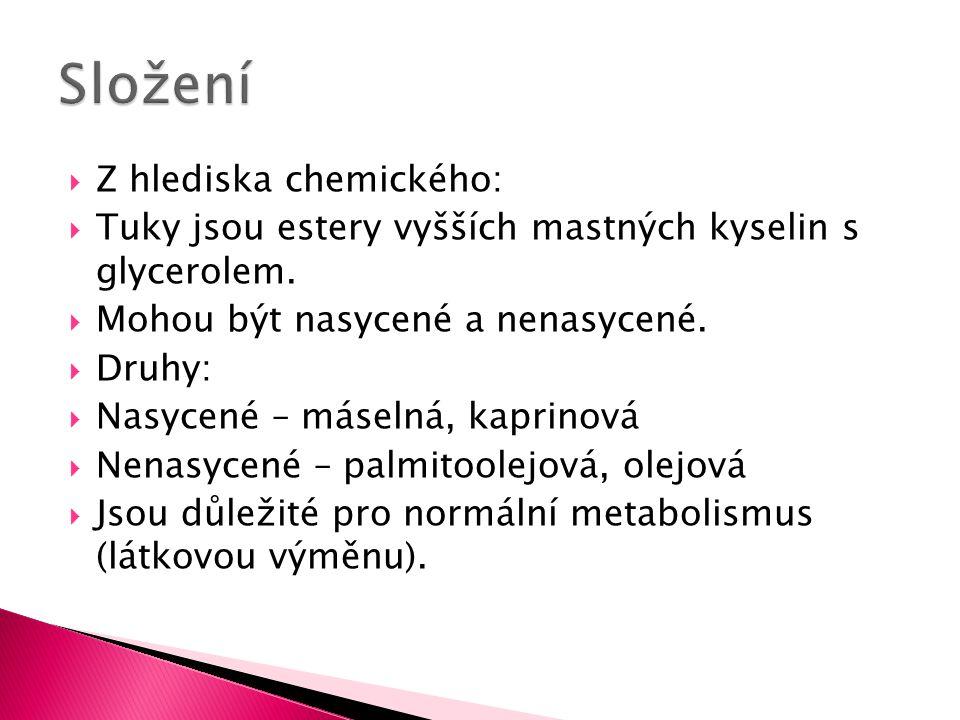 Z hlediska chemického:  Tuky jsou estery vyšších mastných kyselin s glycerolem.
