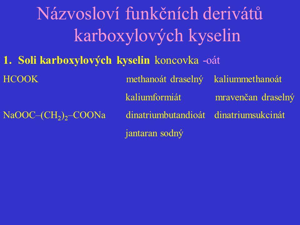 Názvosloví funkčních derivátů karboxylových kyselin 1.Soli karboxylových kyselin koncovka -oát HCOOK methanoát draselný kaliummethanoát kaliumformiát