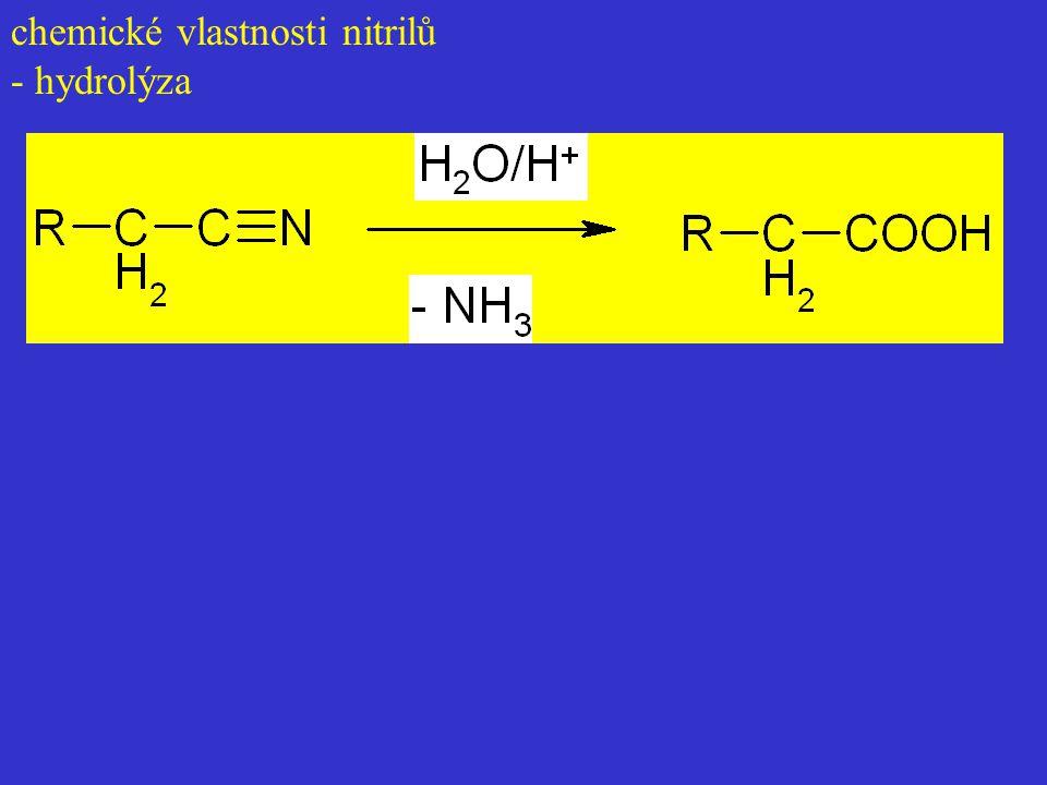 chemické vlastnosti nitrilů - hydrolýza