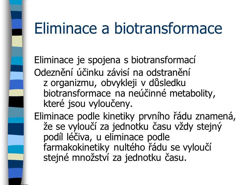 Eliminace a biotransformace Eliminace je spojena s biotransformací Odeznění účinku závisí na odstranění z organizmu, obvykleji v důsledku biotransformace na neúčinné metabolity, které jsou vyloučeny.