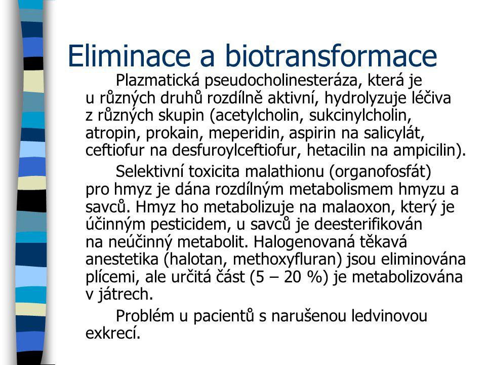 Eliminace a biotransformace Plazmatická pseudocholinesteráza, která je u různých druhů rozdílně aktivní, hydrolyzuje léčiva z různých skupin (acetylcholin, sukcinylcholin, atropin, prokain, meperidin, aspirin na salicylát, ceftiofur na desfuroylceftiofur, hetacilin na ampicilin).