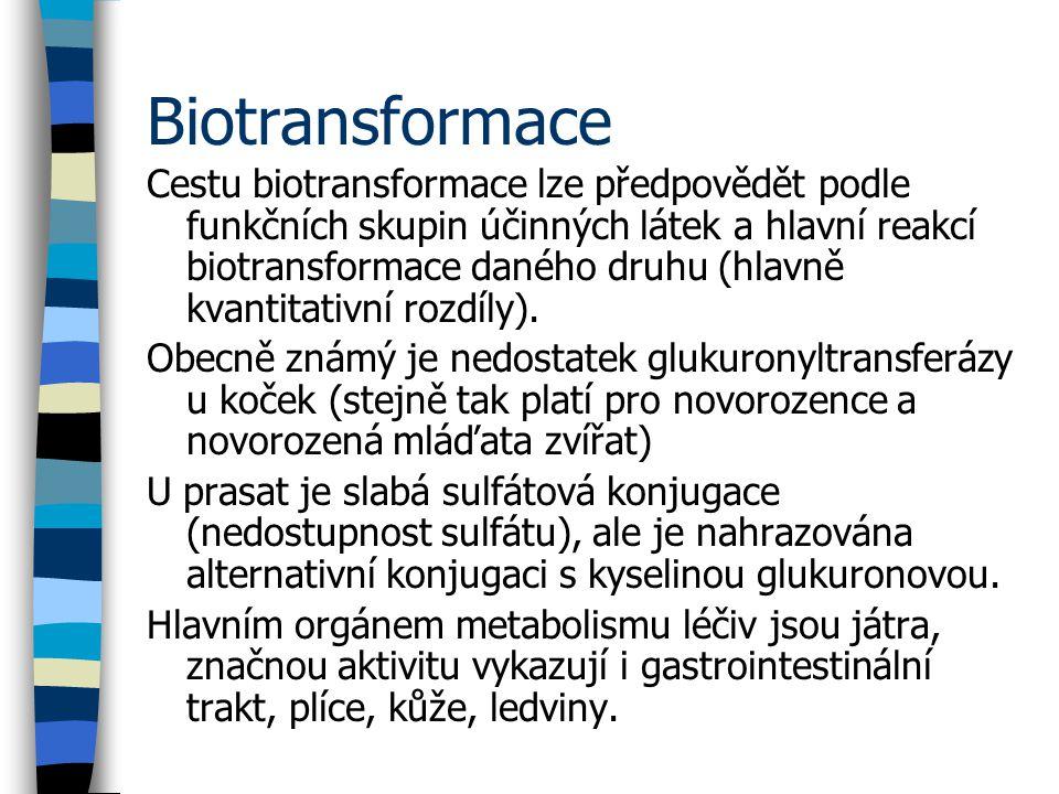 Biotransformace Cestu biotransformace lze předpovědět podle funkčních skupin účinných látek a hlavní reakcí biotransformace daného druhu (hlavně kvantitativní rozdíly).