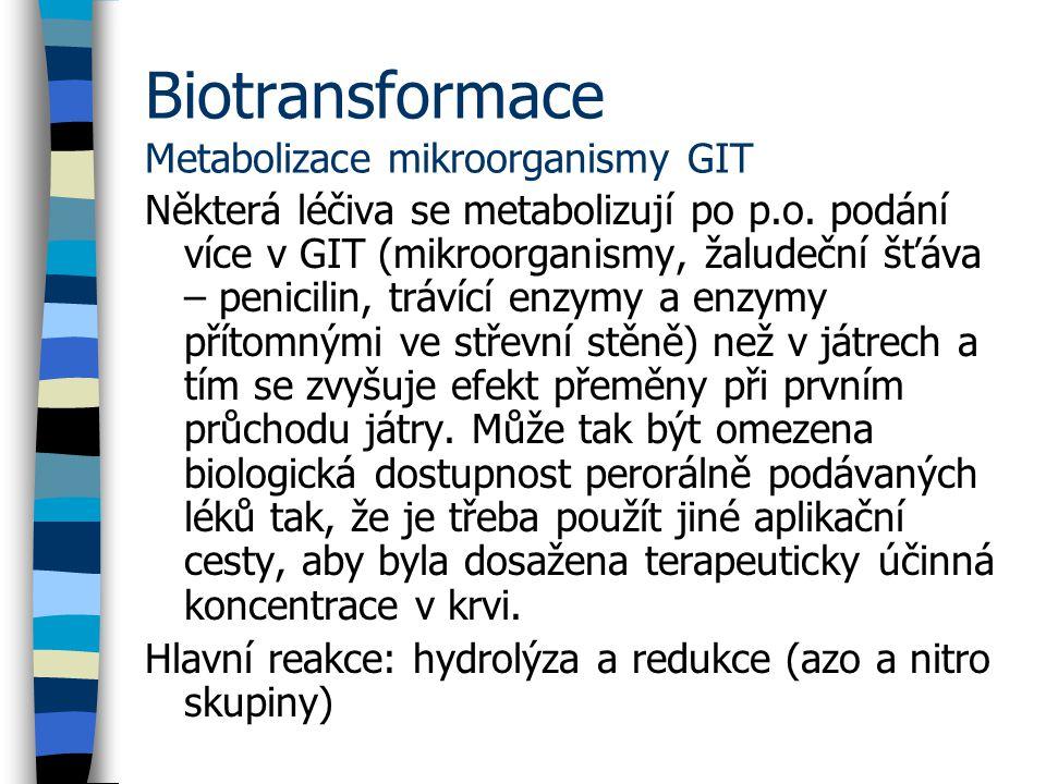 Biotransformace Metabolizace mikroorganismy GIT Některá léčiva se metabolizují po p.o.