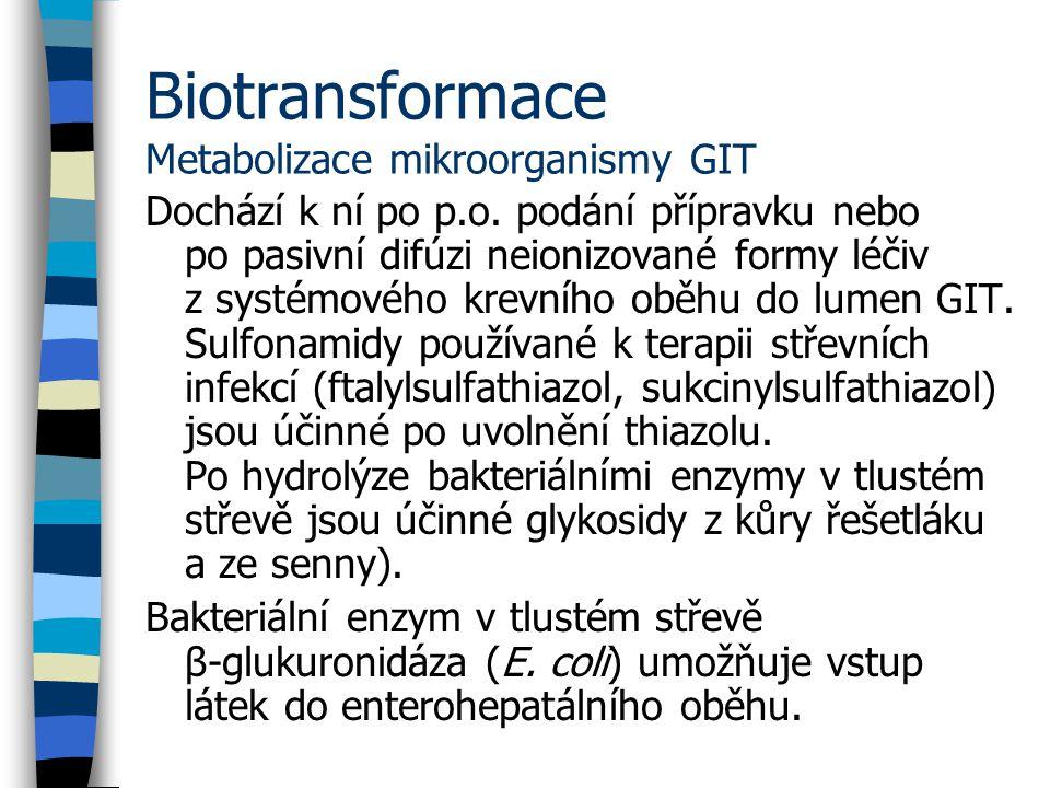 Biotransformace Metabolizace mikroorganismy GIT Dochází k ní po p.o.