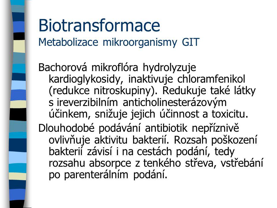 Biotransformace Metabolizace mikroorganismy GIT Bachorová mikroflóra hydrolyzuje kardioglykosidy, inaktivuje chloramfenikol (redukce nitroskupiny).