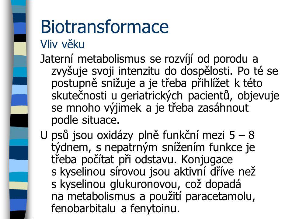 Biotransformace Vliv věku Jaterní metabolismus se rozvíjí od porodu a zvyšuje svoji intenzitu do dospělosti.