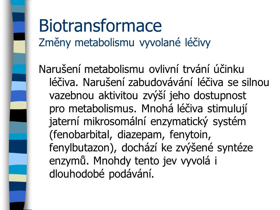 Biotransformace Změny metabolismu vyvolané léčivy Narušení metabolismu ovlivní trvání účinku léčiva.
