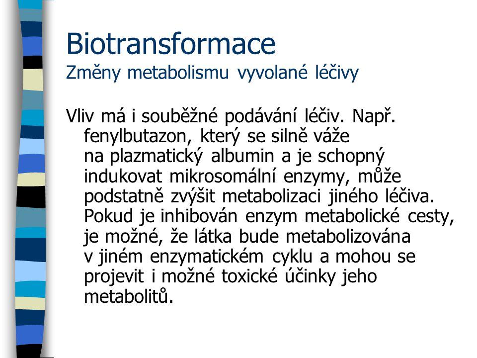 Biotransformace Změny metabolismu vyvolané léčivy Vliv má i souběžné podávání léčiv.