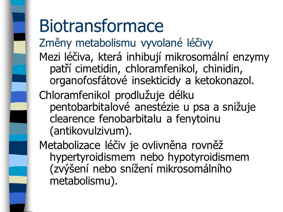 Biotransformace Změny metabolismu vyvolané léčivy Mezi léčiva, která inhibují mikrosomální enzymy patří cimetidin, chloramfenikol, chinidin, organofosfátové insekticidy a ketokonazol.