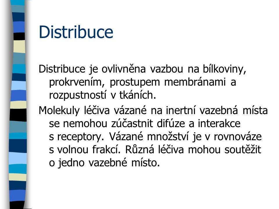 Distribuce Distribuce je ovlivněna vazbou na bílkoviny, prokrvením, prostupem membránami a rozpustností v tkáních.
