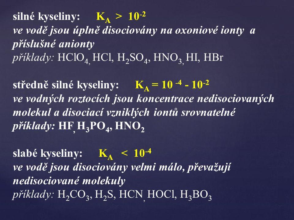 silné kyseliny: K A > 10 -2 ve vodě jsou úplně disociovány na oxoniové ionty a příslušné anionty příklady: HClO 4, HCl, H 2 SO 4, HNO 3, HI, HBr středně silné kyseliny: K A = 10 -4 - 10 -2 ve vodných roztocích jsou koncentrace nedisociovaných molekul a disociací vzniklých iontů srovnatelné příklady: HF, H 3 PO 4, HNO 2 slabé kyseliny: K A < 10 -4 ve vodě jsou disociovány velmi málo, převažují nedisociované molekuly příklady: H 2 CO 3, H 2 S, HCN, HOCl, H 3 BO 3