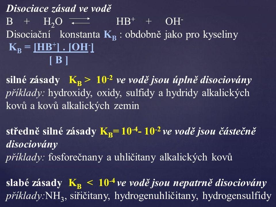 Disociace zásad ve vodě B + H 2 O HB + + OH - Disociační konstanta K B : obdobně jako pro kyseliny K B = [HB + ].