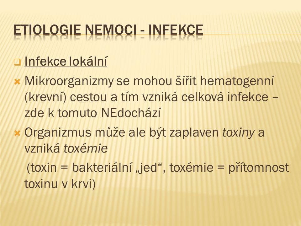  Infekce lokální  Mikroorganizmy se mohou šířit hematogenní (krevní) cestou a tím vzniká celková infekce – zde k tomuto NEdochází  Organizmus může