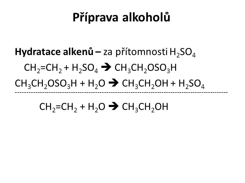 Příprava alkoholů Hydratace alkenů – za přítomnosti H 2 SO 4 CH 2 =CH 2 + H 2 SO 4  CH 3 CH 2 OSO 3 H CH 3 CH 2 OSO 3 H + H 2 O  CH 3 CH 2 OH + H 2 SO 4 ------------------------------------------------------------------------------------------------ CH 2 =CH 2 + H 2 O  CH 3 CH 2 OH